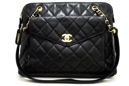 chanel-caviar-quilted-chain-shoulder-bag-leather-black-zip-goldper-2