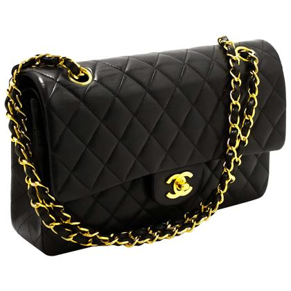 chanel-255-double-flap-10-chain-shoulder-bag-black-quilted-lamb-20