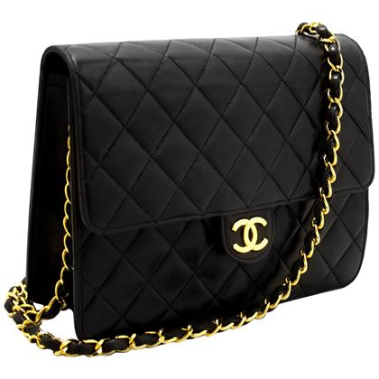 chanel-small-chain-shoulder-bag-black-clutch-flap-quilted-lambskin-6