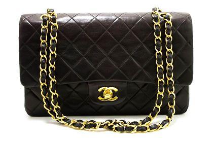 chanel-255-double-flap-10-chain-shoulder-bag-black-quilted-lamb-21