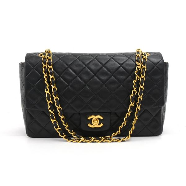 34e9f05a756d Vintage Chanel Medium Flap Black Quilted Lambskin Leather ...