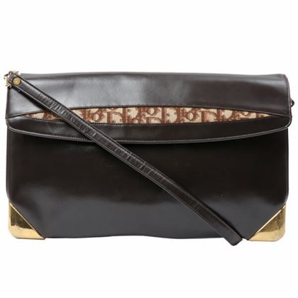 dior-trotter-pattern-leather-combination-shoulder-bag-brown