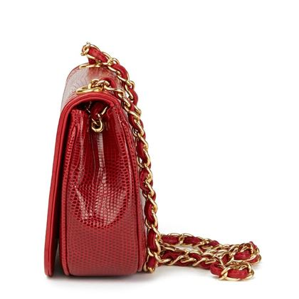red-lizard-leather-vintage-timeless-mini-flap-bag