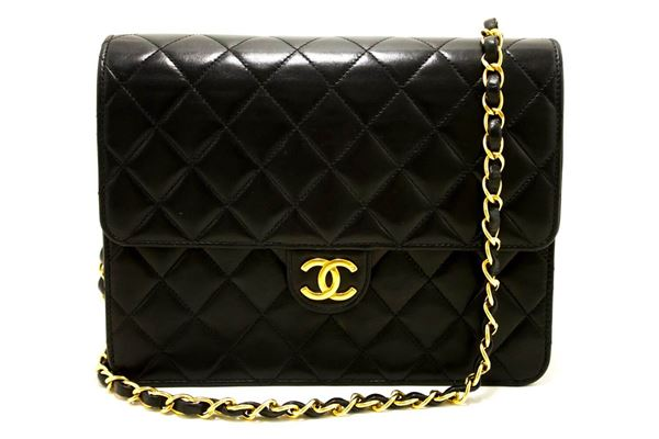chanel-small-chain-shoulder-bag-black-clutch-flap-quilted-lambskin-7