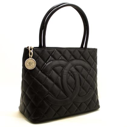 chanel-caviar-silver-medallion-shoulder-bag-leather-black-tote-sv