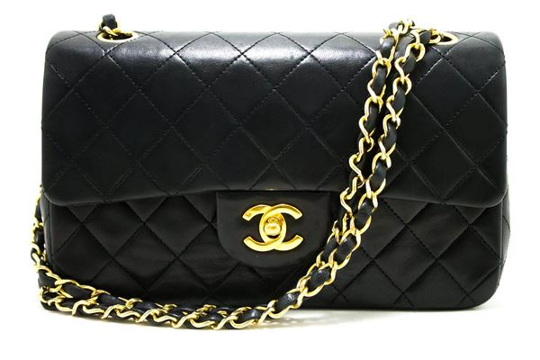 chanel-255-double-flap-9-chain-shoulder-bag-black-quilted-lamb-11