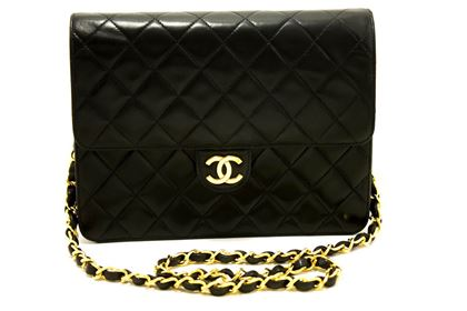 chanel-small-chain-shoulder-bag-black-clutch-flap-quilted-lambskin-9