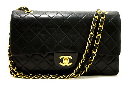 chanel-255-double-flap-10-chain-shoulder-bag-black-quilted-lamb-22