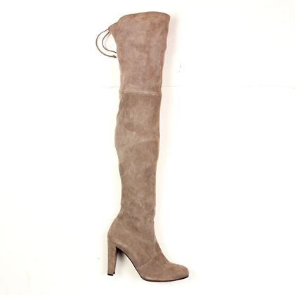 stuart-weitzman-highland-heel-boots-taupe-tan-brown-suede-over-the-knee-9-pre-owned-used