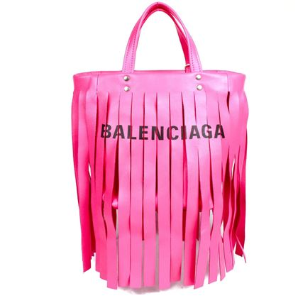 balenciaga-cabas-small-crossbody-tote-pink-leather-fringe-tassel-shoulder-bag-pre-owned-used