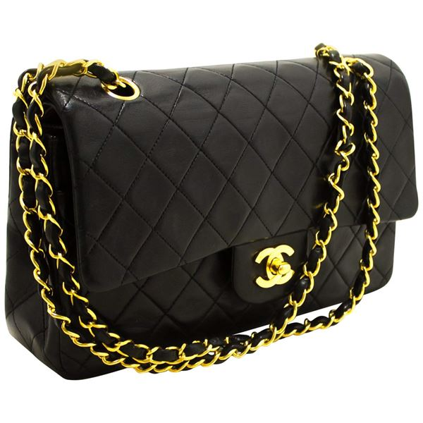 chanel-255-double-flap-10-chain-shoulder-bag-black-quilted-lamb-23