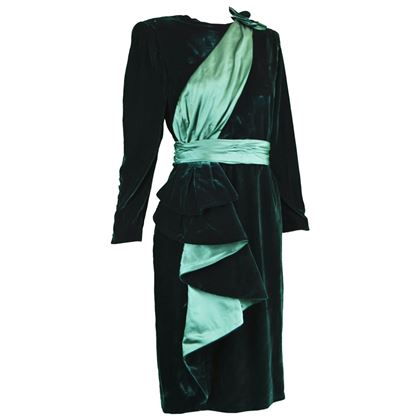 Nina Ricci 1980s Green Velvet Vintage Party Dress