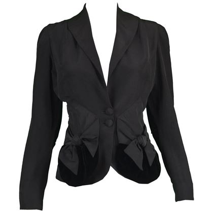 Saks Fifth Avenue 1950s Black Evening Party Jacket
