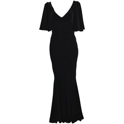 David Fielden 1980s Velvet Fishtail Evening Gown