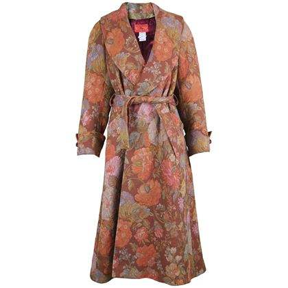 Kenzo 1990s Floral Tapestry Maxi Coat