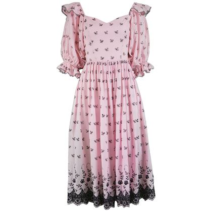 David Emanuel 1980s Pink Puff Sleeve Folk Dress