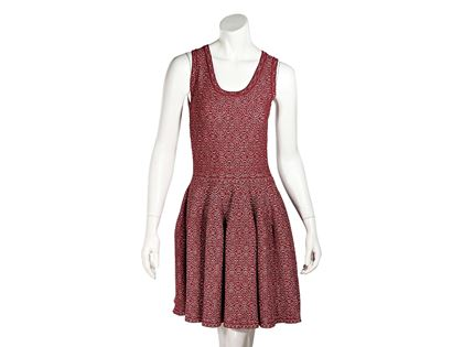 red-silver-alaia-printed-fit-and-flare-dress