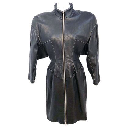 1980s-north-beach-black-embossed-lamb-leather-dress