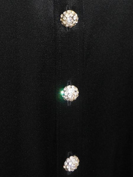 YVES SAINT LAURENT 1970s Vintage Evening Dress Crystal Buttons Size S