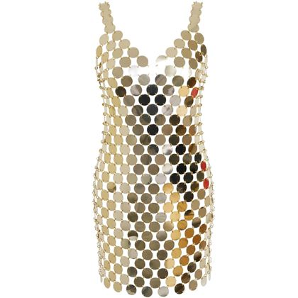 PACO RABANNE c. 1996 Vintage Rhodoid Disc Dress