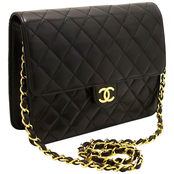 d6c5c00d3557 Chanel Small Chain Shoulder Bag Black Clutch Flap Quilted Lambskin