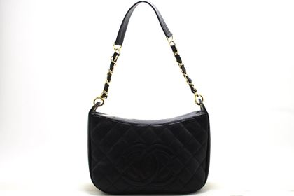 chanel-caviar-chain-one-shoulder-bag-black-quilted-leather-zipper-5
