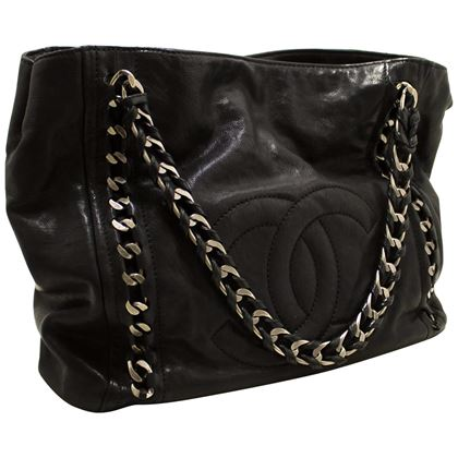 chanel-caviar-chain-shoulder-bag-leather-black-silver-tote-large