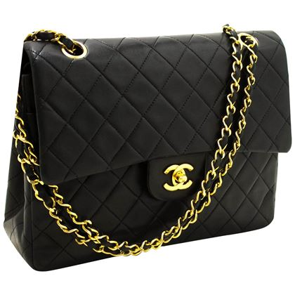 chanel-255-double-flap-medium-chain-shoulder-bag-black-quilted-3