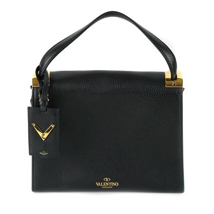 valentino-my-rockstud-black-leather-shoulder-bag-pre-owned-used