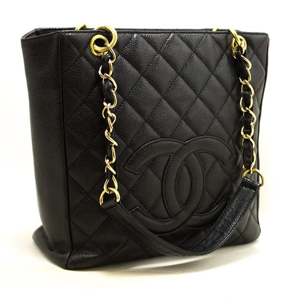 7c44e3fecaa9 Chanel Caviar PST Chain Shoulder Shopping Tote Bag Black Quilted