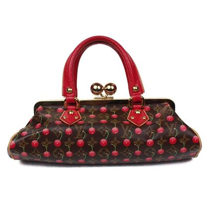 louis-vuitton-cherry-frame-lizard-red-leather-satchel-print-takashi-murakami-pre-owned-used