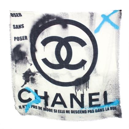 chanel-scarf-graffiti-cashmere-large-silk-cc-logo-white-black-blue-pre-owned-used