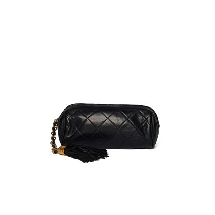 chanel-black-quilted-round-tassel-clutch