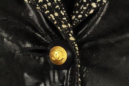 chanel-rare-black-4-pocket-coat-vinyl-jacket-wool-interior-cc-buttons-42-us-10-pre-owned-used