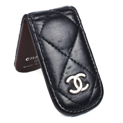 chanel-money-clip-wallet-leather-black-lambskin-quilted-cc-silver-logo-bill-pre-owned-used