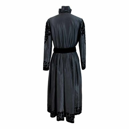 louis-feraud-long-dress-cerimony-floral-velvet-vintage-black