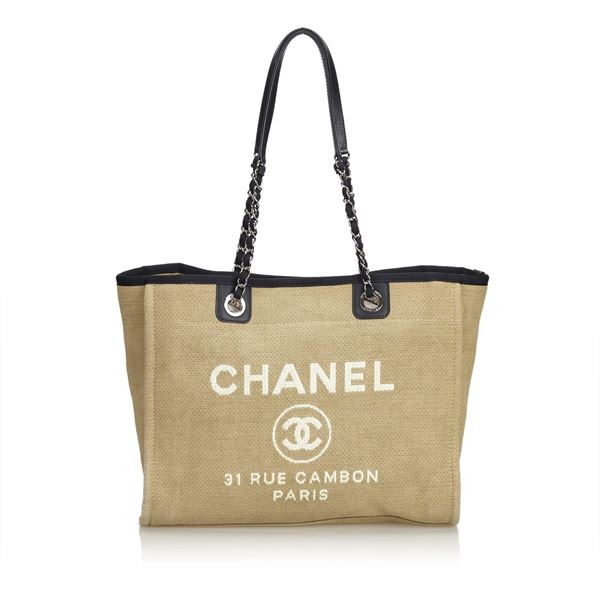 22bde62ddd5b Tan Chanel Canvas Small Deauville Tote Bag