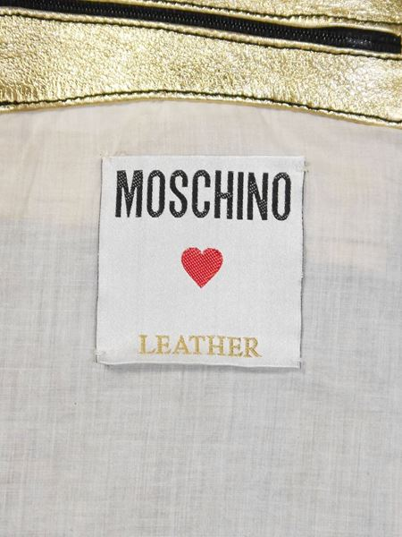 MOSCHINO 1980s Vintage Biker Leather Jacket w/ Embroidery Size S