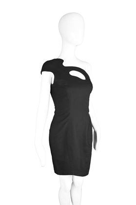Thierry Mugler 1980s Black Cut Out Vintage Dress