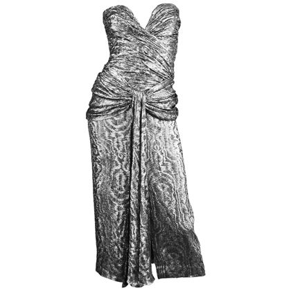 Vicky Tiel 1980s Metallic Silver Vintage Party Dress