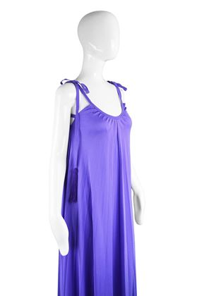 Frank Usher 1970s Purple Jersey Vintage Pleated Dress