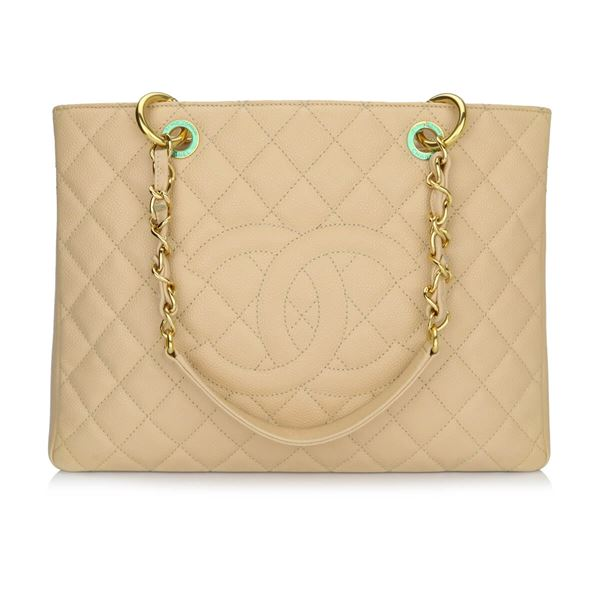 eaff0e5fa9b8 Chanel Grand Shopping Tote (GST) Beige Clair Caviar Gold ...