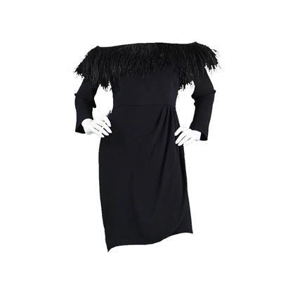 Valentino 1980s Feather Trimmed Vintage Evening Dress