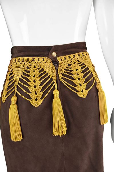 Moschino 1980s Vintage Brown Suede Skirt