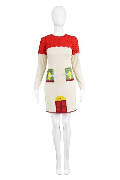 Moschino 1980s Vintage Novelty Appliqued Dress