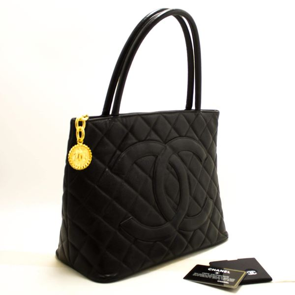 ca0c0cbe3293 Chanel Gold Medallion Caviar Shoulder Shopping Tote Bag Black