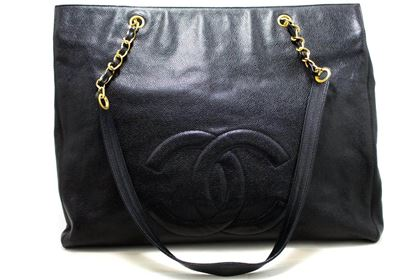 chanel-caviar-jumbo-chain-shoulder-bag-leather-black-large-big