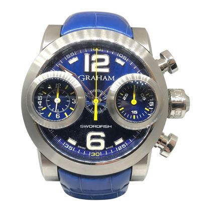 Graham Swordfish rare blue chronograph mens watch