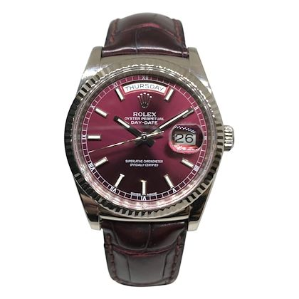 Rolex Day Date in White Gold with Unusual Burgundy Dial