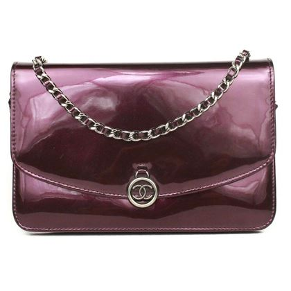 chanel-wallet-on-a-chain-crossbody-bag-purple-patent-leather-flap-silver-cc-woc-pre-owned-used
